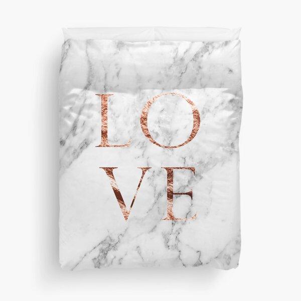 Rose gold marble LOVE Duvet Cover