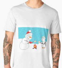A snowman and a penguin roasting marshmallows.  Men's Premium T-Shirt