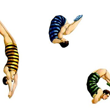 Vintage Male Swimmers and Divers in Striped Costumes by figfive
