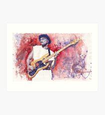 Jazz Guitarist Marcus Miller Red Art Print