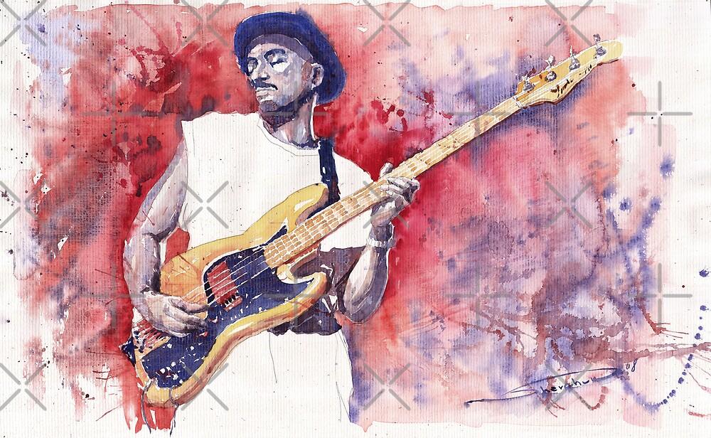 Jazz Guitarist Marcus Miller Red by Yuriy Shevchuk