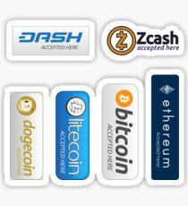 Pegatina Aceptado aquí: Bitcoin, Litecoin, Ethereum, Dogecoin, Dash, Zcash