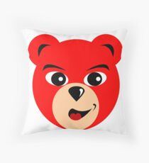 Fly Teddie - Red Throw Pillow