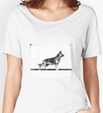 German Shepherd Dog Drawing Women's Relaxed Fit T-Shirt