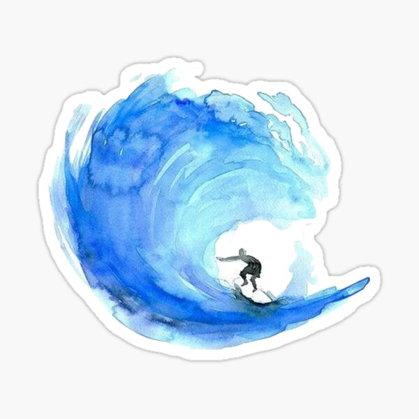 Aquarellwelle Sticker