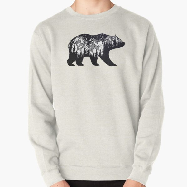 Wanderlust California Bear Silhouette with Mountains Landscape, Trees, Moon & Stars Pullover Sweatshirt
