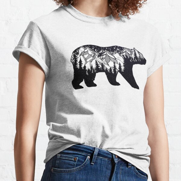 Wanderlust California Bear Silhouette with Mountains Landscape, Trees, Moon & Stars Classic T-Shirt