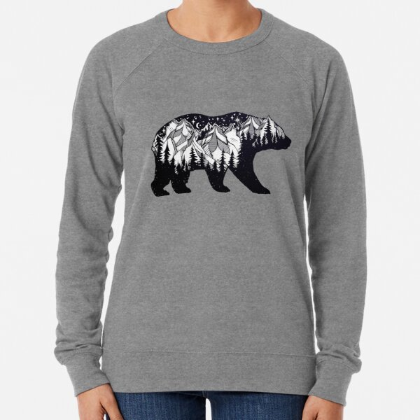 Wanderlust California Bear Silhouette with Mountains Landscape, Trees, Moon & Stars Lightweight Sweatshirt