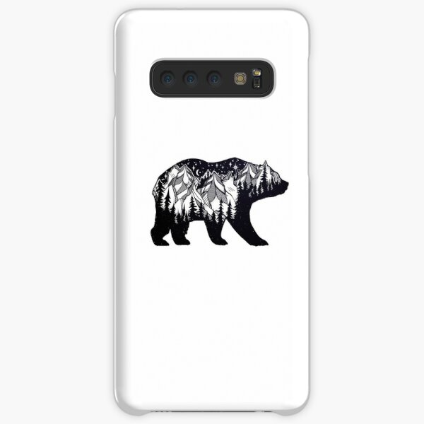 Wanderlust California Bear Silhouette with Mountains Landscape, Trees, Moon & Stars Samsung Galaxy Snap Case