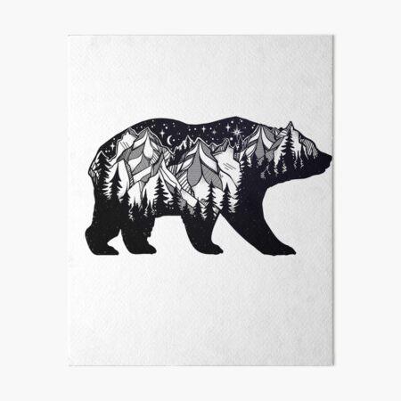 Wanderlust California Bear Silhouette with Mountains Landscape, Trees, Moon & Stars Art Board Print