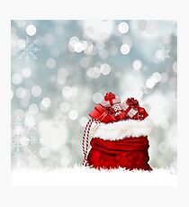 Satchel of Gifts In Snow Photographic Print