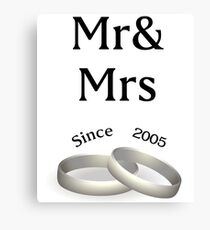 12th anniversary matching Mr. And Mrs. Since 2005 Canvas Print