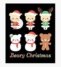 Merry Beary Christmas Funny Bears Santa Reindeer Photographic Print