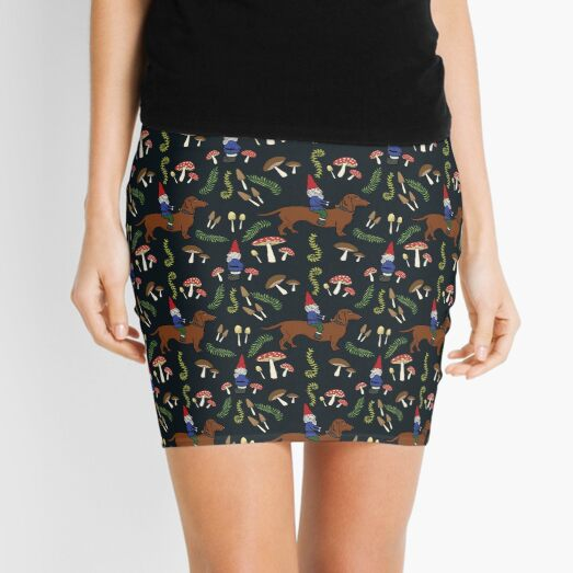 Gnome and Dachshund in the Mushroom Forest, Black Background Mini Skirt