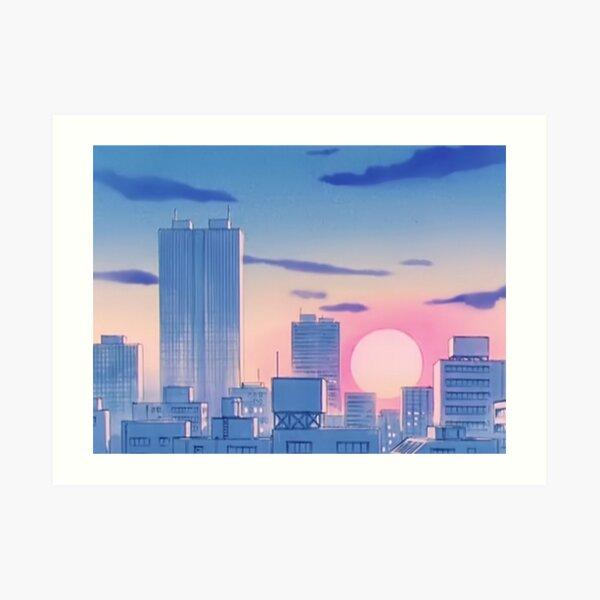 Sailor Moon City Landscape Art Print