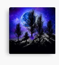 NEBULA STAR MOON AND TREES Canvas Print
