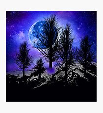 NEBULA STAR MOON AND TREES Photographic Print