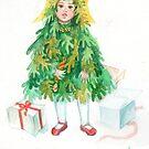 Christmas Tree Girl, Winter Holidays Vintage Retro Art by clipsocallipso
