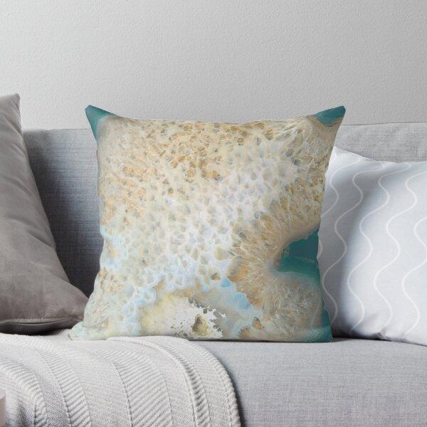 agate, quartz, pierre de cristal beige or turquoise Coussin