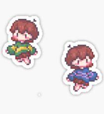 Chara + Frisk   [Pixel Art] Sticker