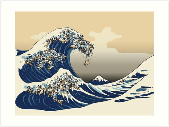 Die große Welle der Pugs-Vanille-Himmel von Huebucket