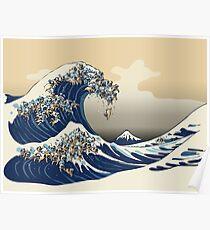 Die große Welle der Pugs-Vanille-Himmel Poster