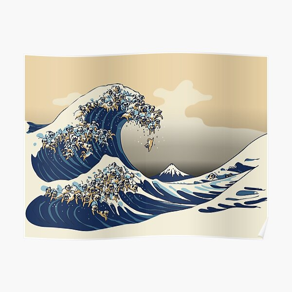The Great Wave of Pugs Vanilla Sky Poster