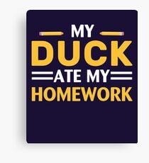 My Duck Ate My Homework Canvas Print