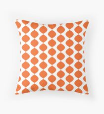 Mid Century Modern Retro 60s Waves Pattern  (Red Orange Pure) Throw Pillow