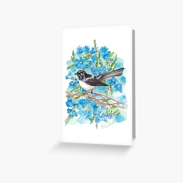 Willie Wagtail on Lechenaultia Greeting Card