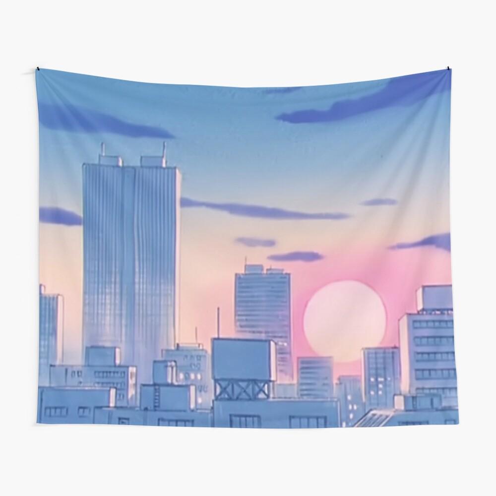 Sailor Moon City Landschaft Wandbehang