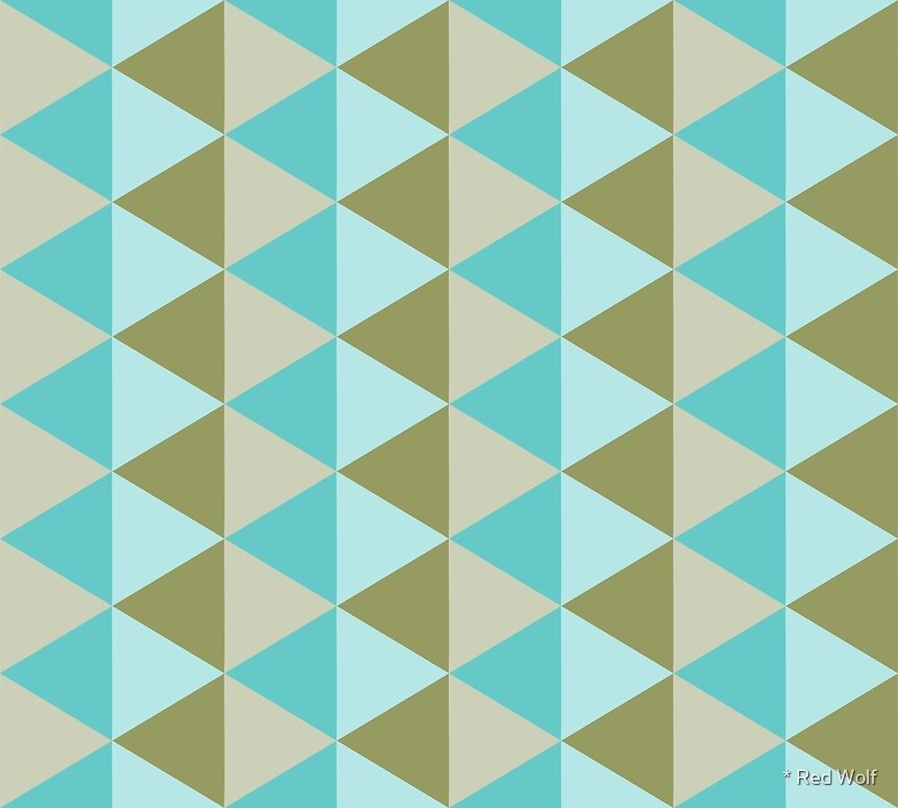 Geometric Pattern: Split Diamond: Blue/Green by * Red Wolf