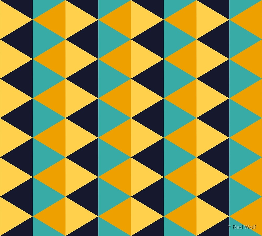 Geometric Pattern: Split Diamond: Blue/Yellow by * Red Wolf