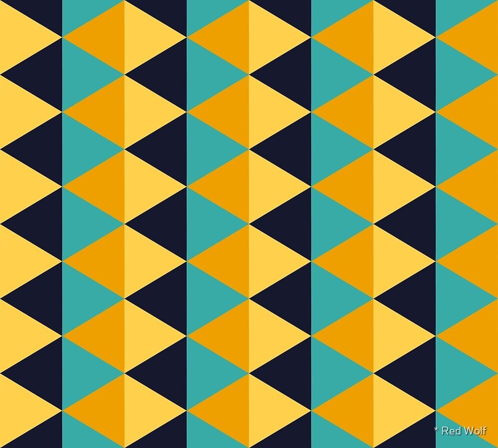 Geometric Pattern: Split Diamond: Blue/Yellow by * Red Wolf
