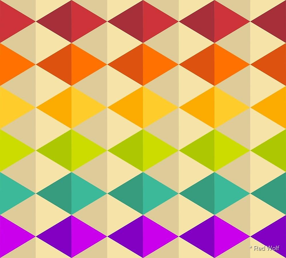 Geometric Pattern: Split Diamond: Rainbow by * Red Wolf