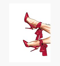 Red satin bow heels Photographic Print
