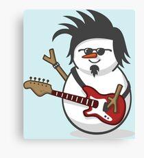 Cute Electric Guitar Disguised Snowmen Canvas Print