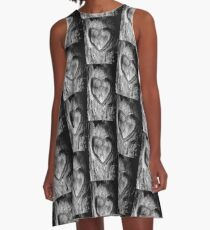 Tree Heart Black and White A-Line Dress