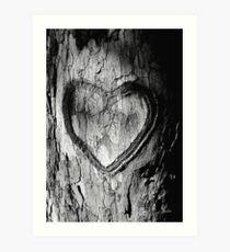 Tree Heart Black and White Art Print