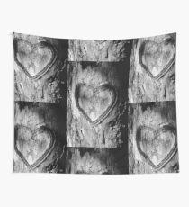 Tree Heart Black and White Wall Tapestry