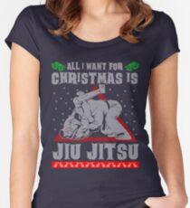 Jiu Jitsu Ugly Christmas Sweater Women's Fitted Scoop T-Shirt