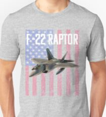 F-22 Raptor Aircraft USA Flag Design T-Shirt