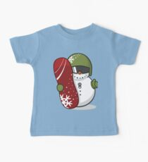 Cute Disguised Snowmen with Snowboard  Baby Tee