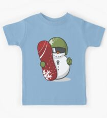 Cute Disguised Snowmen with Snowboard  Kids Tee