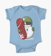 Cute Disguised Snowmen with Snowboard  One Piece - Short Sleeve