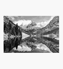 Maroon Bells BW Covered In Snow - Aspen Colorado Photographic Print