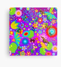 Abstract Flowers with Butterflies  Metal Print