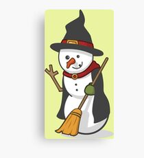Cute Witch Disguised Snowmen Canvas Print