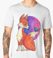 Fox And Blue Bird Cute Love Men's Premium T-Shirt