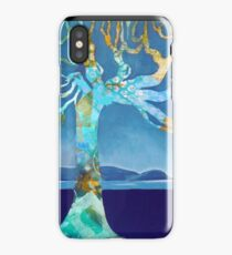 Mixed media tree by a lake iPhone Case/Skin